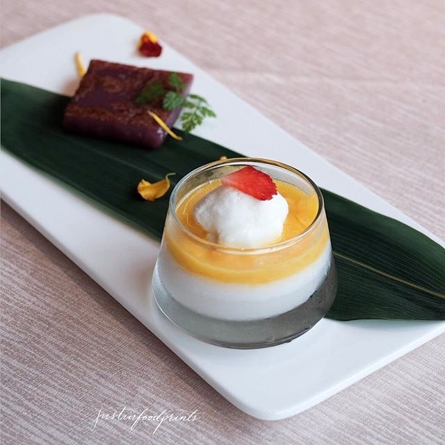 Chilled Coconut Jelly with Mango Puree served with Coconut Ice-cream (included in $148++ per person menu onwards).
