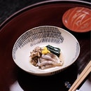 Sakizuke - Kamasu with Sake (kaiseki menu from 9504JPY = S$120/pax including tax and service charge).