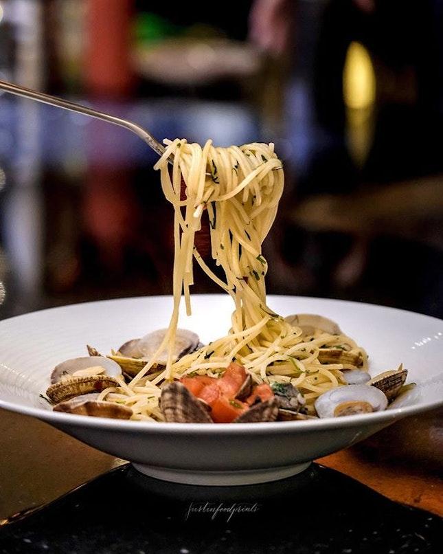 Spaghetti Vongole ($28).