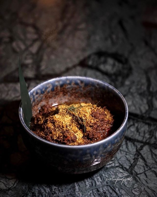 Westholme Intercostal Rib Rendang with Serunding and Turmeric leaf ($32++).