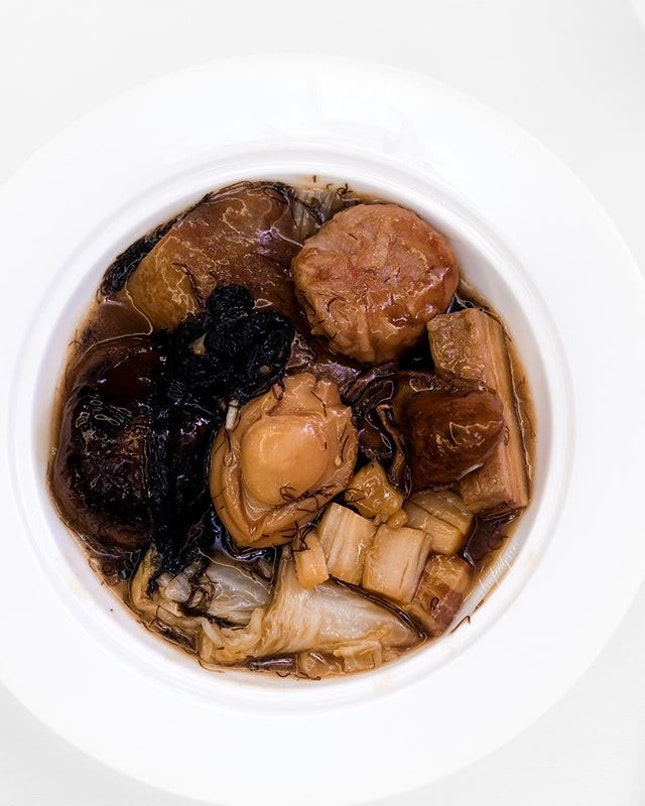 Braised Pork Belly with Pan-fried Lotus Root Pork Patties and Sea Treasures in Claypot 富贵花腩莲藕肉饼海味锅 ($298++ for dine-in; $318.85 nett for takeaway, six persons including claypot, portion for one pictured).