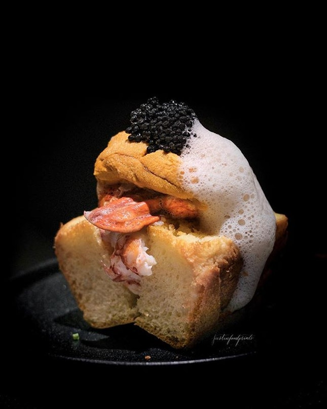 Lobster Roll with Uni and Caviar.