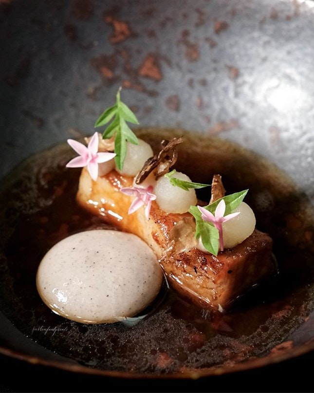 Iberico Pork Jowl (6th course of 8 course menu at $197++; or 265++ with wine pairing).