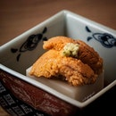 Sesame Tofu with Sea Urchin (part of tempura omakase.