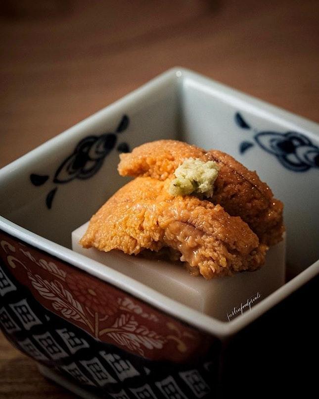 Sesame Tofu with Sea Urchin (part of tempura omakase.