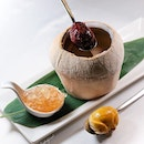 Double-boiled superior bird's nest with red date served in young coconut (椰皇红枣炖金丝伴金元宝饼, included in $388++/pax or $2988++ for 10 pax CNY menu).