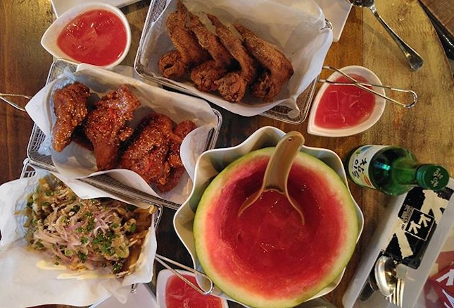 Perfect place to catch up with friends over Watermelon Soju, wings with soya & chili sauce and bulgogi fries!