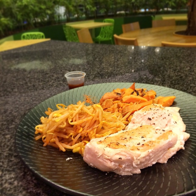 Sous Vide Chicken breast With Spicy Bean Sprouts And Salted Baked Sweet Potato