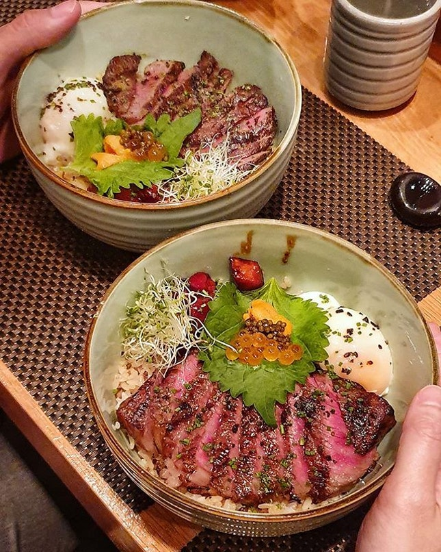 The Kagoshima A4 Tenderloin, and Nagasaki A5 Striploin in its charcoal-grilled, medium rare glory.