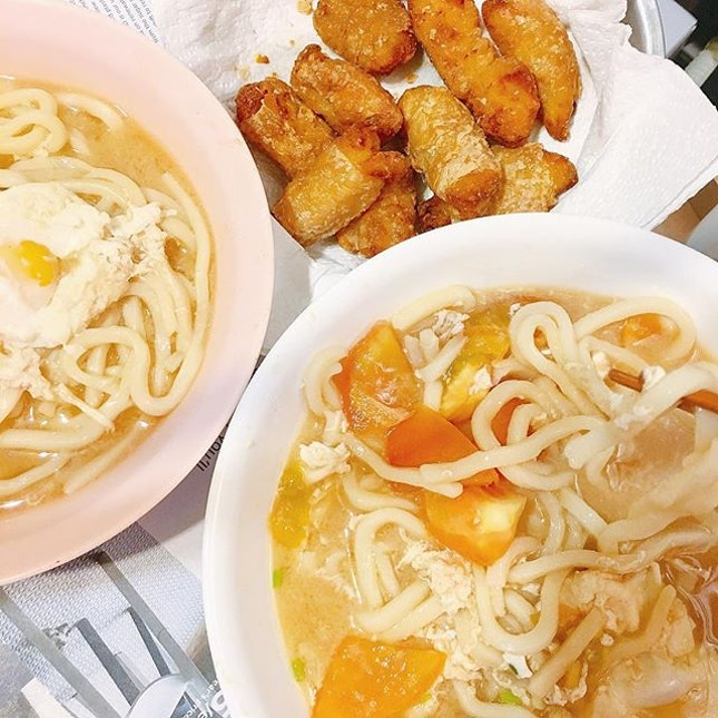 simple homecooked Miso soup with udon and airfried chicken karaage with beancurd skin for dinner on a rainy cooling sunday😍☁️