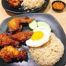 Har Cheong Gai (shrimp paste fried chicken wings) with fragrant chicken rice.