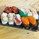 sushi bento on the go (ranging $3.50-4.50) seafood mix $4.50.