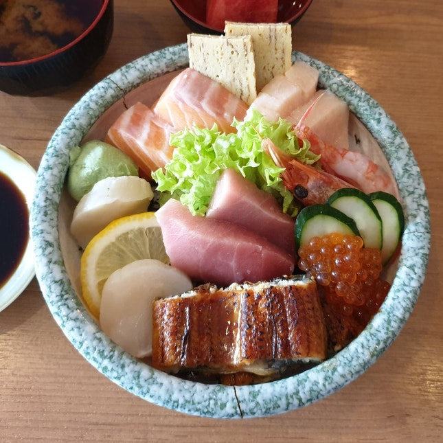 Fresh Selection Of Sashimi In A Rice Bowl