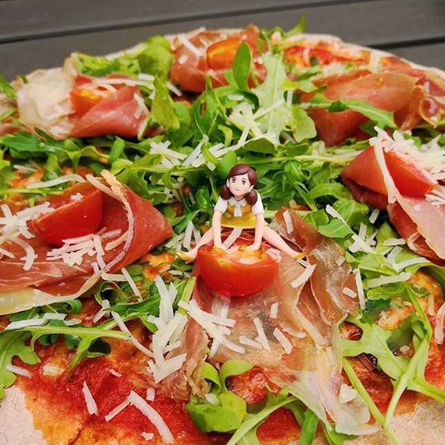 Happiness is.....a pizza with parma ham, rocket salad, mozzarella cheese & tomato sauce 😍 freshly made everyday!