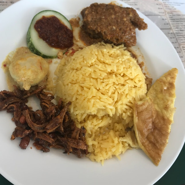 Nasi Lemak Beef Rendang ($7)