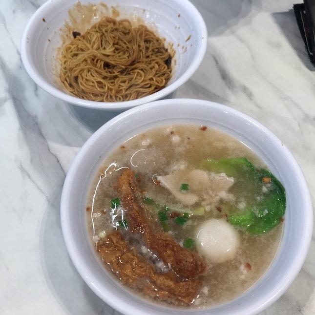 Lao Jiang Soup With Dry Mee Kia ($6)