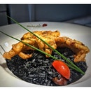 Risotto Al Nero with Soft shell crab SGD 18.50++.