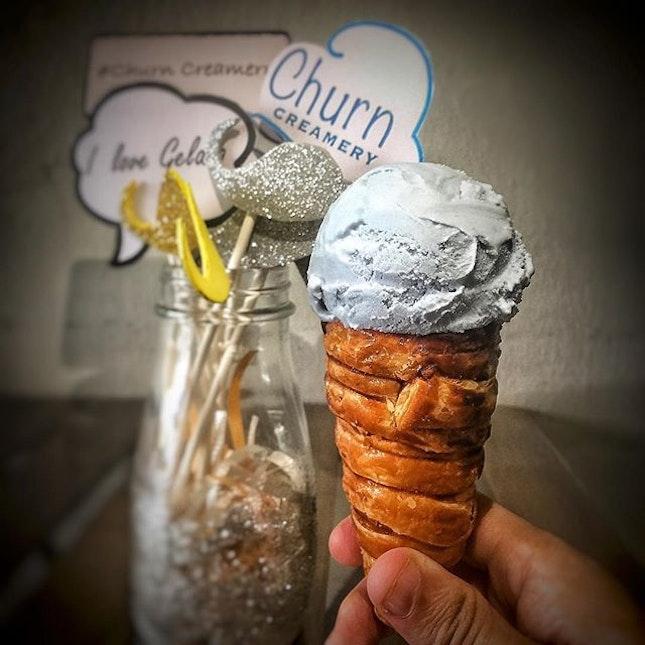 Blue Pea Sea Salt Gelato with Puffone!
