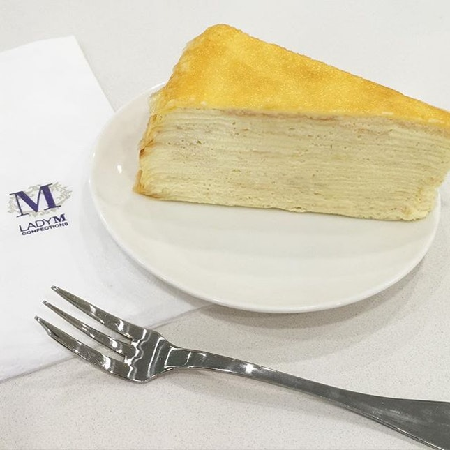 Enjoying my afternoon with a mille crepe 🍰