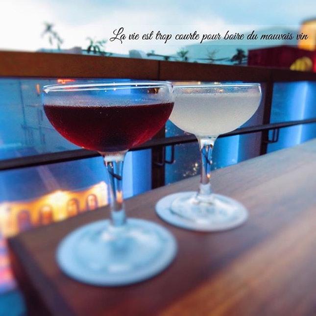 """La vie est trop courte pour boire du mauvais vin""  Featuring; GunPowder(Beefeater gin, fresh lime,cane syrup, cayenne pepper) - SGD10 & Manhattan(Few spirits bourbon, Carpano antica vermouth, Angostura bitters)- SGD 22."
