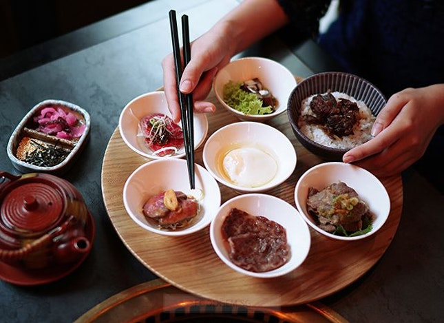 With so many different cuts of wagyu beef, from short ribs to wagyu rump, it's possible to try seven different cuts of wagyu and prime beef prepared uniquely with interesting sauces like truffle ponzu jelly for your lunch.