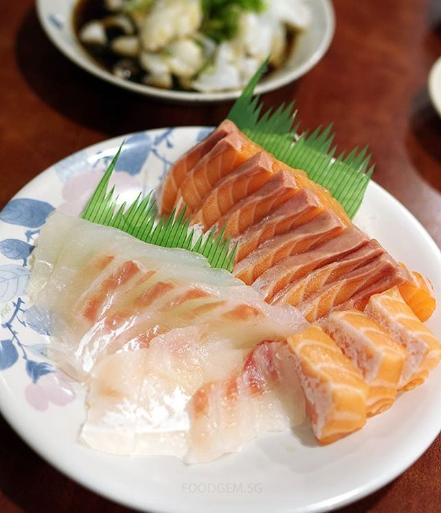 Freshly sliced sashimi upon order.