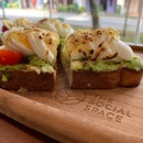 Double Toast + Cold Brewed Tea (Avo + Egg)