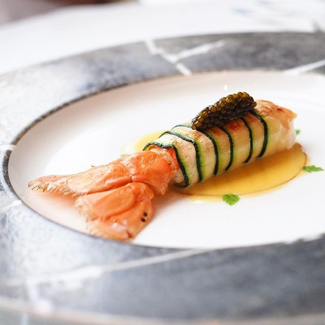 <Langoustine from Loctudy with an emulsion of olive oil> Need to find people to treat me @lesamisrestaurant lunchie for my birthday 🙋🏻 Hahahaha.