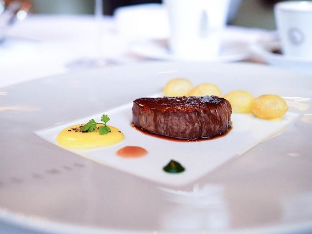 Japanese Omi Beef with Pomme Soufflés and @Chef_sebastien_lepinoy interpretation of a bearnaise sauce.
