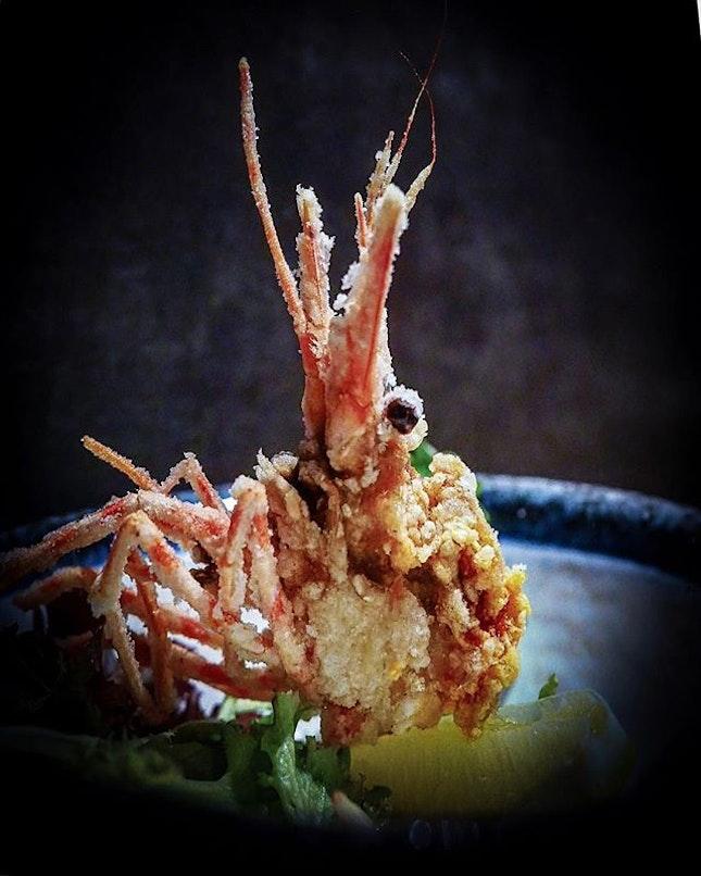 My friends had botan ebi sashimi; Auntie me only wanna eat the head!!!