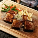 Juicy chunks of pork belly with red wine & figs infused butter from @buttergrill skin was crispy and well charred while the meat itself was borderline tender with the fat rendered down nicely  Psst..