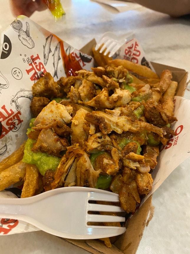 Woodfire Smoked Chicken & Guacamole Tempura Fries- $12