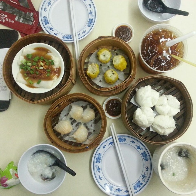 Char Siew Chee Cheong Fun ($3.80++) + Crab Siew Mai ($3.80++) + Longan Sea Coconut ($2.80++) +  HK Small Pork Buns ($3.30++) + Century Egg Porridge ($3++) + Har Kow ($3.80++) + Crisy Carrot Cake ($4.50++) [Not In Picture]