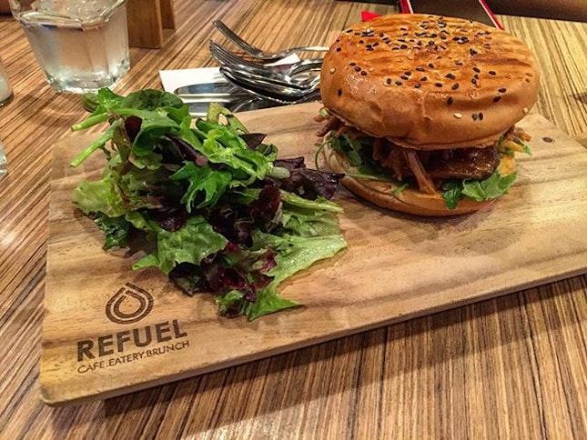 Pull pork burger 👍 #cafesg #cafehoppingsg #cafefood #foodporn #foodhunter #instafood #cafe #foodlover #foodpic #hungry #food #sgfoodiary #foodie #burpple #tinlicious #foodpandasg #foodgasm #cafekakisg #cafebunnysg #sgcafefood #sgmakandiary #foodhunt #foodporn #foodgasm #foodstagram #foodpics #foodphotography #burger #pork #salad #dinner #bedokreservoir #burpple