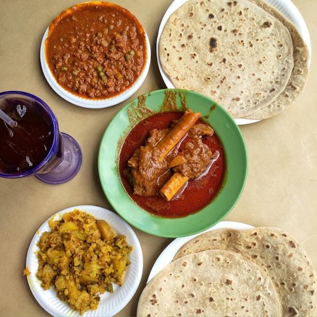 Azmi Chapati ($0.90), Mutton Mince (Keema, $3.40) & Goat Bone (Paya, $4)