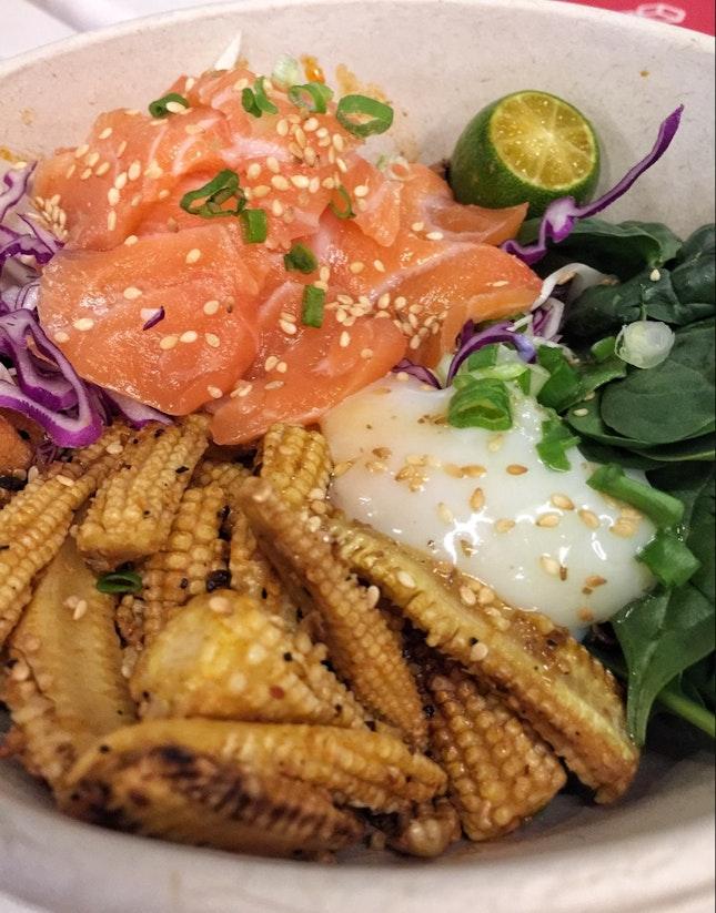 Swordfish Quinoa Bowl + Salmon Sashimi ($13 + $6)