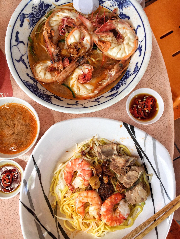 Big Prawn Noodle (Soup) & Prawn and Pork Rib Noodle (Dry)