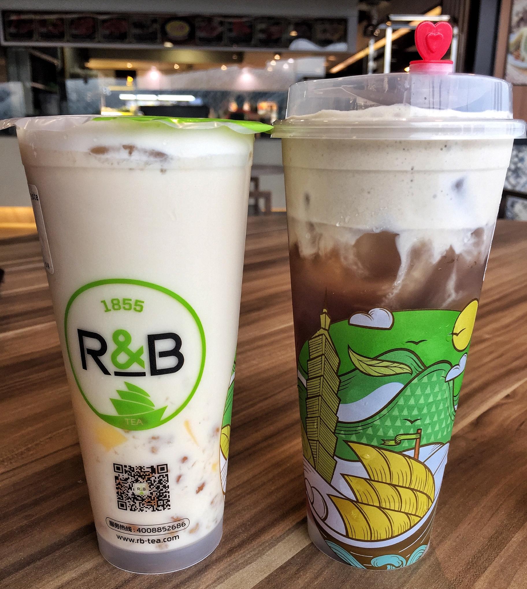 No. 23 Oolong Crystal Milk Tea ($3.80) & Roasted Oolong Tea ($4.50 for L, comes with Tea Cream)