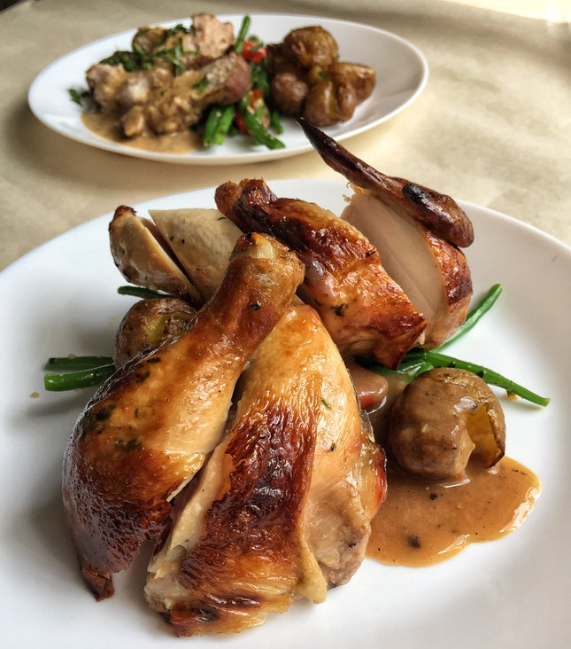 Poulet Rôti, Gravy & Two Sides ($23 for half; $45 for whole)