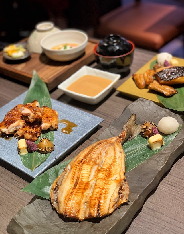 Charcoal Grilled Teriyaki Chicken ($10.90), Dried Akba Mackerel (14.90) & Miso Marinated Black Cod ($21.90) Sets