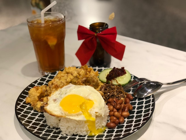 Nasi Lemak with Salted Egg Chicken