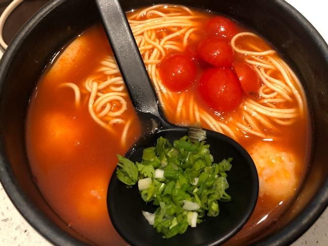 Vinaigrette Ebiko Prawn Paste Noodle Tomato Soup