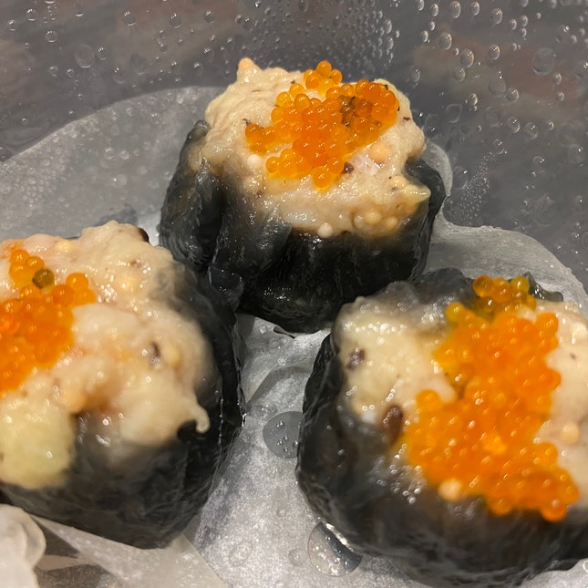 "Steamed Charcoal Chicken & Shrimp Dumpling""Hak Kam Kai Siew Mai"""
