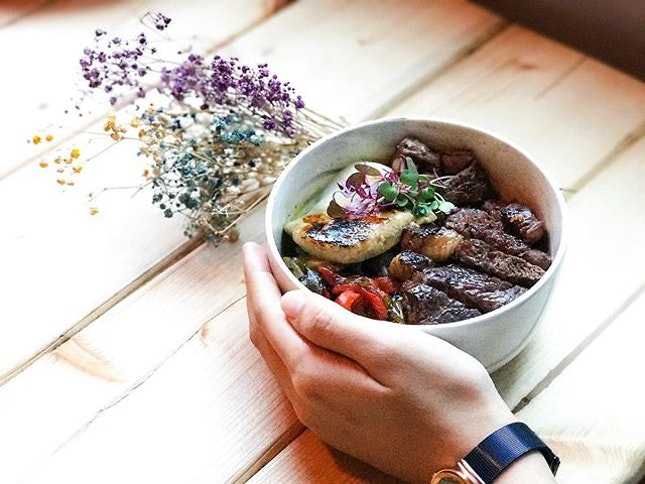 "Anarchy Wine + Brew Bar - Invited Tasting - Bowls : Truffle Ribeye bowl with brûléed Foie Gras (💵S$22) ""Healthy yet flavourful bowls, served with an option of mixed rice or gluten-free quinoa."