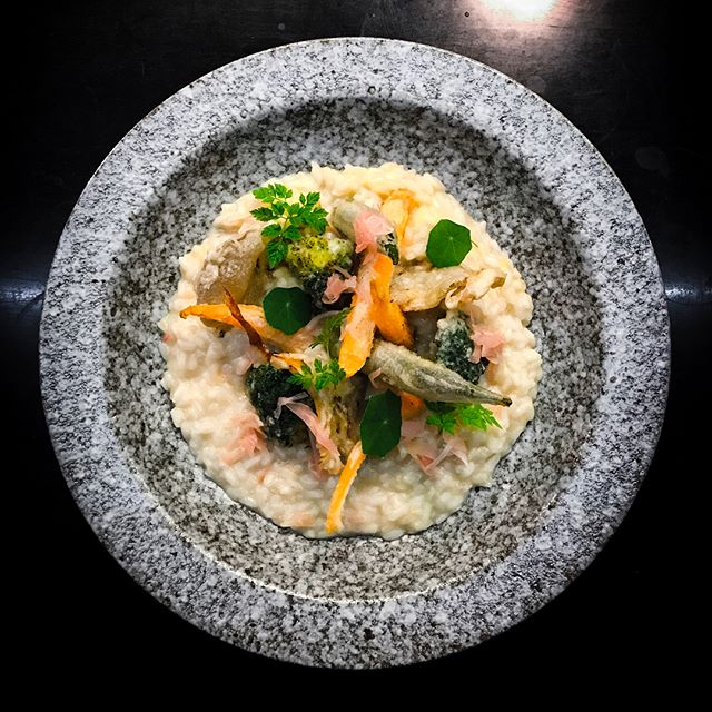 Open Door Policy - Invited Tasting - Mains - Vegetable Tempura Risotto (V) (💵S$25)  Pickled pink ginger, okra, baby carrot, oyster mushroom, broccoli.