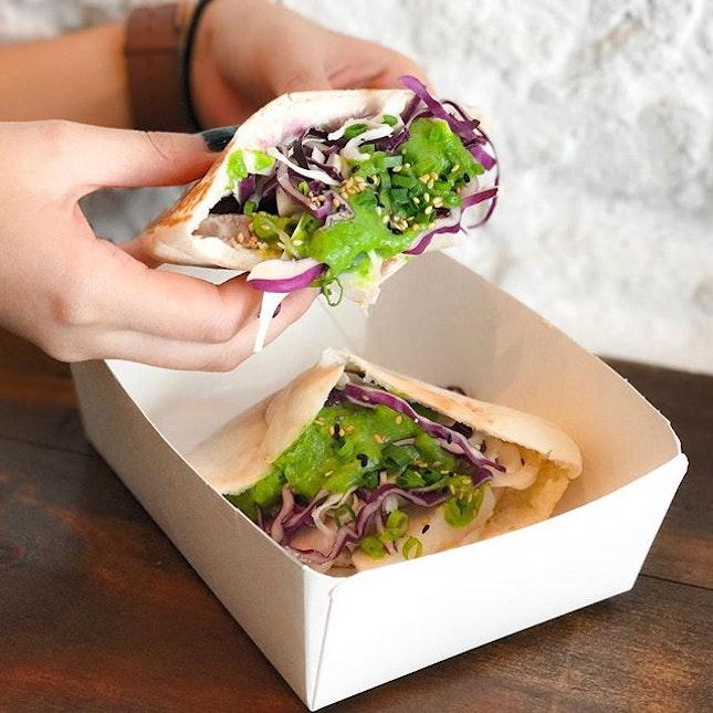 Annyeong Habibi - A collaboration between Artichoke @artichoke_sg & Joo Bar @joobarsg - Pig Bang (💵16)  Braised Pork Bossam Style, Beetroot, Cabbage Labeh Cheese, Zhoug Coriander & Pita Bread.