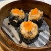 Steamed Charcoal Chicken and Shrimp Dumpling ($4)