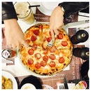 Pepperoni Pizza 🍕  The kind of a messy table we all enjoy.