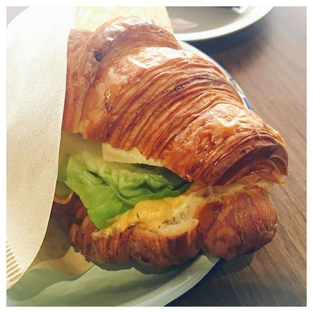 Curry Egg Mayo Croissant 🥐  Flaky and crisp.