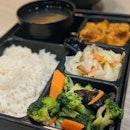 Rendang Lion Mane Mushroom + Broccoli + 1 Seasonal Vegetable, Sesame Rice Bento ($8.90)
